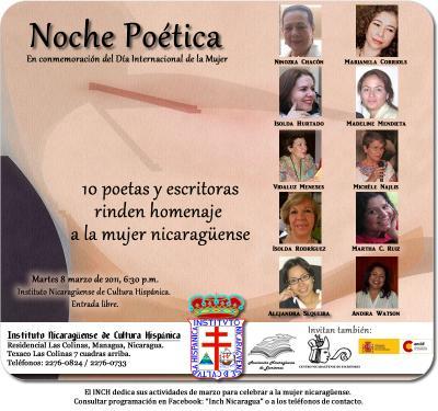 8 de marzo: Noche poética en el INCH Nicaragua